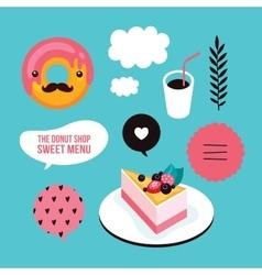 Sweet menu Food Delicious dessert Berry cheesecake vector image vector image