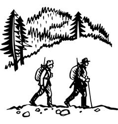 Two hunters vector image vector image