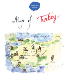 map of attraction of turkey vector image
