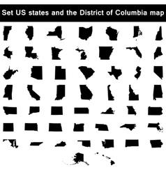 Set of us states maps vector