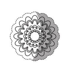 sticker monochrome contour with flower figure vector image vector image