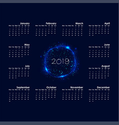 2019 calendar templatestarts monday vector image