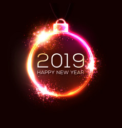 2019 new year concept with colorful neon lights vector image