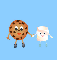 a funny chocolate chip cookie and funny vector image