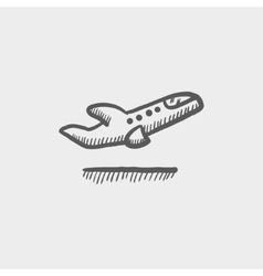 Airplane takeoff sketch icon vector