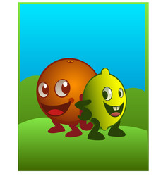 An orange an lemon characters smiling in cartoon vector