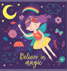 basic rgbposter with magic night fairy vector image