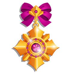 Beautiful medal made precious stones set vector