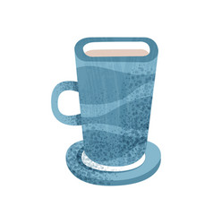 big blue cup for tea and coffee ceramic mug with vector image
