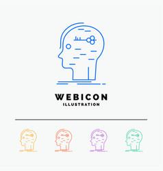 Brain hack hacking key mind 5 color line web icon vector