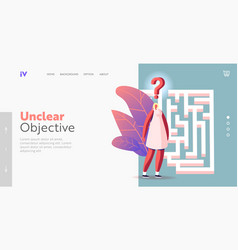 Businesswoman in labyrinth challenge landing page vector
