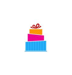 Cake gift logo icon design vector