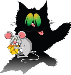 Cartoon cat and mouse vector