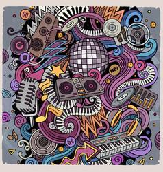 cartoon doodles disco music vector image
