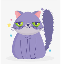 Cat with sad face domestic cartoon animal cats vector