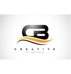 Cb c b swoosh letter logo design with modern vector