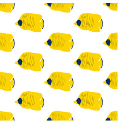chaetodon auriga butterflyfish seamless pattern vector image