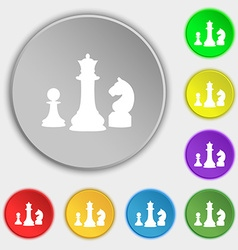 Chess Game icon sign Symbol on eight flat buttons vector