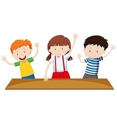 Children having hands up vector