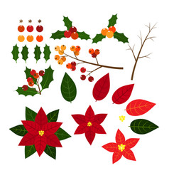 christmas elements with set of holly berries and vector image