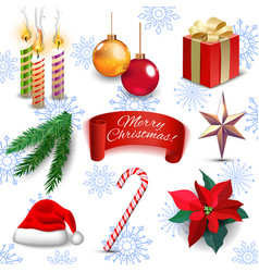 Christmas new year holiday decoration realistic vector