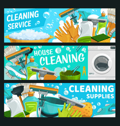cleaning service laundry and hygiene banners vector image