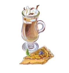 Coffee affogato and buttermilk pie vector