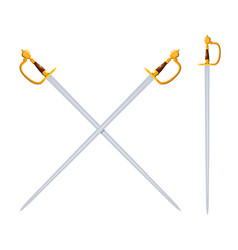 Color image two crossed swords on a white vector