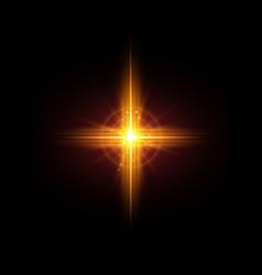 Cross light shiny cross or bright star sign vector