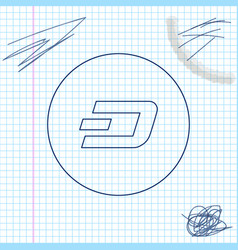 cryptocurrency coin dash line sketch icon isolated vector image