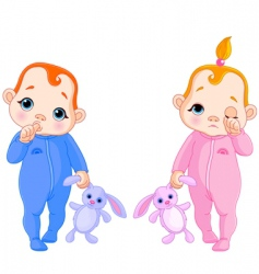 cute babies going to sleep vector image vector image
