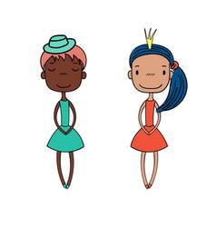Cute fashion girls vector