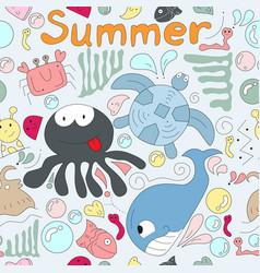 Cute funy cartoon beach animal seamless pattern vector