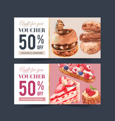 Dessert voucher design with chocolate cake vector