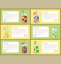 Detox diet drink pages set vector
