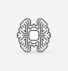 Digital brain with chip outline icon vector