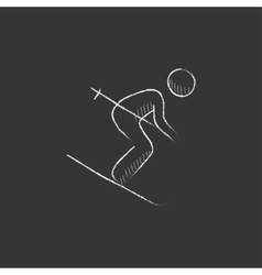 Downhill skiing Drawn in chalk icon vector image