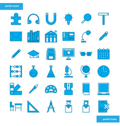 education and learning blue icons set style vector image