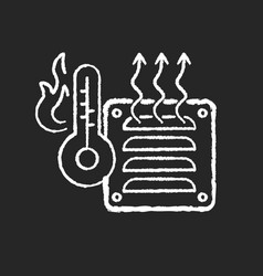 Electric heater chalk white icon on black vector
