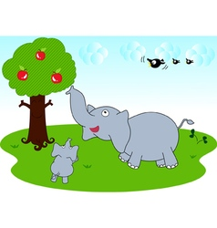 Elephant family and sky vector