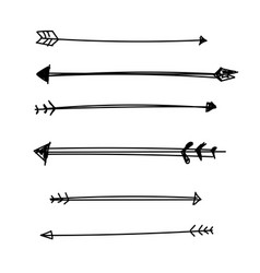 flat set of arrows bow sketch vector image