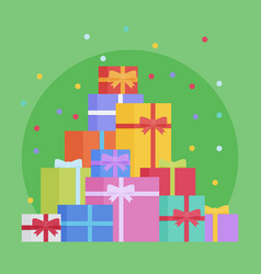 Flat style festive holiday present boxes vector