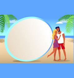 Frame for photo with couple on tropical beach vector