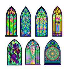 Gothic architectural style with pointed arch set vector