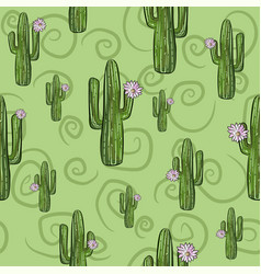 green seamless pattern with saguaro cactuses vector image