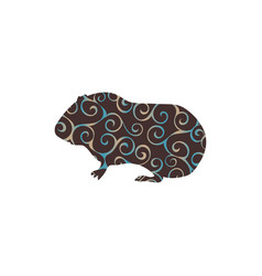 guinea pig pet rodent color silhouette animal vector image