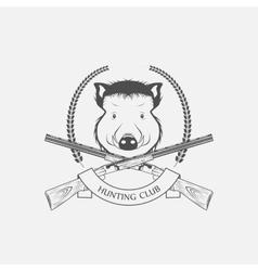 Guns and hunting boar Club vector