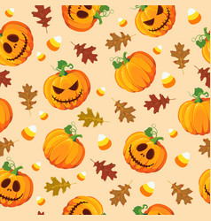 halloween pumpkin seamless pattern with oak vector image