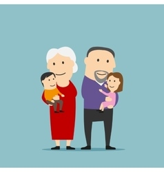 Happy grandparents family with grandchildren vector