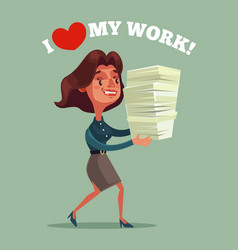happy smiling business woman office worker mascot vector image